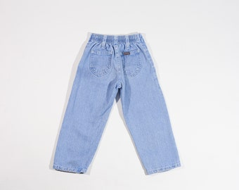 Vintage 90s Lee Riders Kids Light Wash Denim Jeans with Elastic Waist Toddler Pants Size 2T Girls Boys