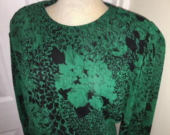 Vintage 1980s Green & Black Floral Print Dress from RICHARD ROBERTS - Size 12