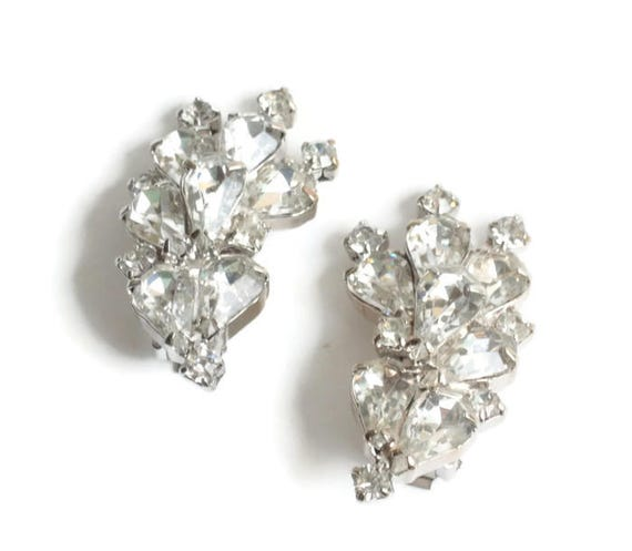 Large Clear Rhinestone Statement Earrings Pear Cut and Chatons  Layered Silver Tone  Special Occasion Vintage
