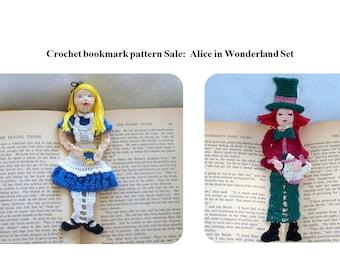 Alice in Wonderland crochet bookmark/decoration patterns, thread crochet bookmark instructions, unique bookmarks diy, wall decor diy,