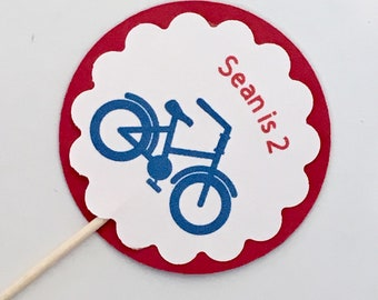 Custom Bicycle Cupcake Toppers, Bicycle Theme, Birthday Cupcakes