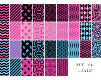 001 Monster Girls inspired digital paper pack for scrapbooking, albums, cards and crafts