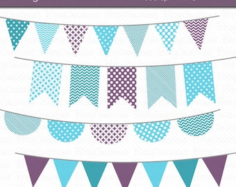 Winter Bunting Clipart Digital Art Set Blue Purple Banner Flag INSTANT DOWNLOAD Winter Clipart