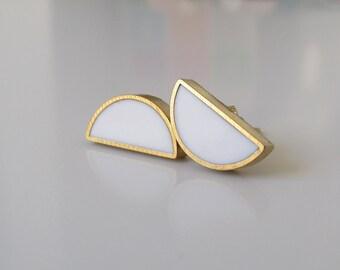white brass half moon stud earrings