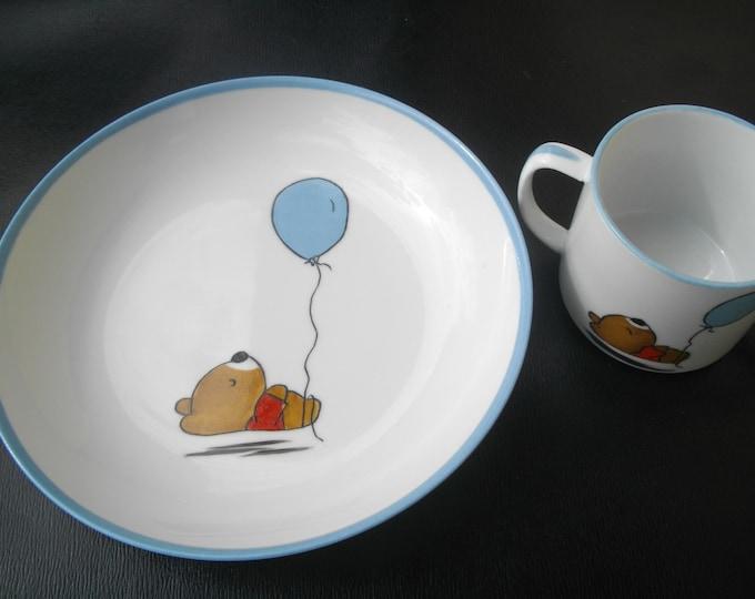 soup plate / Cup / handpainted / child / porcelain. bear.
