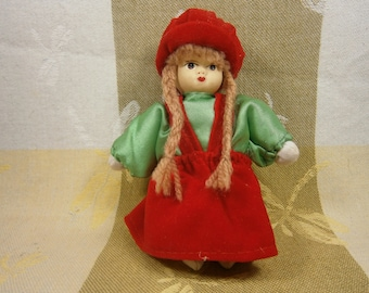 Miniature Vintage Doll In Western European Costume / Porcelain Handpainted Face / International Doll