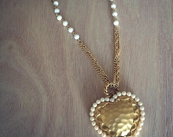 Golden Pearl Heart Necklace