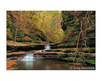 """Fine Art Color Landscape Photography of Waterfalls at Matthiessen State Park in Illinois - """"Giants Bathtub 2"""""""