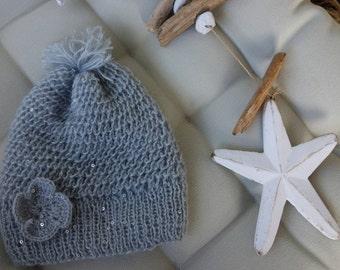 Toddler Hat for Girls   Kids Winter Hat   Pom Pom Hat for Girls   Hat for Kids   Knit Pom Pom Hat   Knit Toddler Hat   Slouchy Hat for Girls