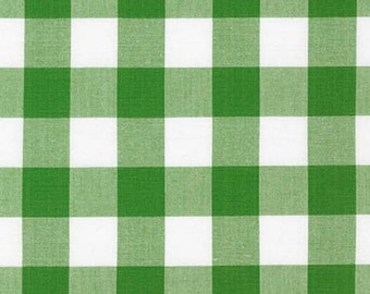 1 Inch Plaid - Carolina Gingham in Kelly Green by Robert Kaufman - 1/2 yard increments