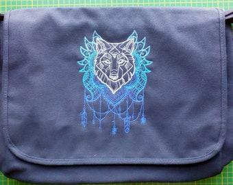 Wolf Bag Wolf dreamcatcher wolf suncatcher, embroidered design.  WolfMessenger Bag. cotton canvas. Lupus Wolves Fenrir Geri Freki