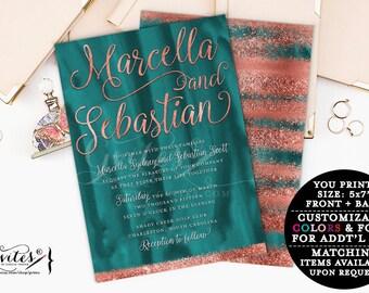 Teal and Copper wedding invitation, modern, rose gold glitter printable invitations, bling rose gold, glitz and glam fashion designer.
