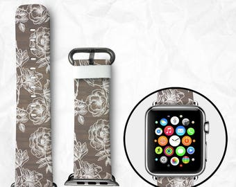 Handmade Apple Watch Series 3 Strap Apple Watch Series 3 Band Apple Watch Series 3 Band calf Leather with Adapter 38mm 42mm - Flowers