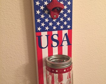 Bottle Opener with Mason Jar Rustic Patriotic America USA Flag