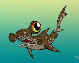 Hammerhead Shark 5x7 print