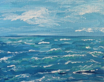 "Acrylic Painting Original Seascape // ""Somewhere at Sea"" 5 x 5"" on Canvas by Rachampart"