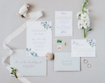 Dusty Blue Floral Wedding Invitation Slate Blue Summer Wedding Invite SAMPLE