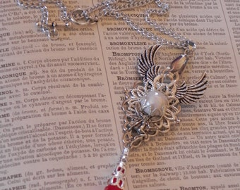 Fairy Steampunk Pendant Necklace in Red and White