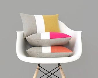 Pantone Colorblock Pillow Covers, Spring Decorative Pillow (12x16) by Jillian Rene Decor - 2017, Primrose Yellow, Pink Yarrow, Flame Orange
