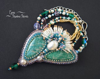 """Pendant - brooch """"Flower from the coasts of the Nile"""" Bead embroidery pendant Pendant with Swarovski crystals Beadwork pendant Beaded brooch"""
