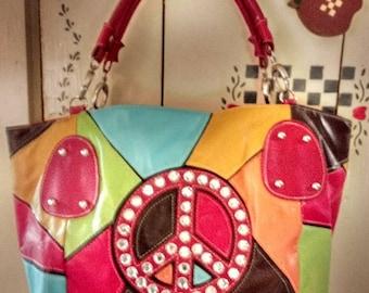 Vintage Leather Peace Sign Purse Handbag