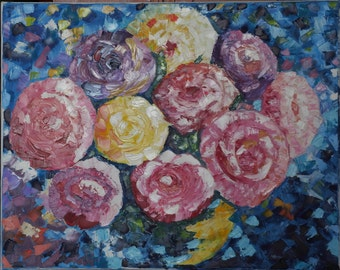 Roses art painting Hand painted Oil painting Flowers Original art Modern painting Abstract painting Palette knife Flowers art painting Art