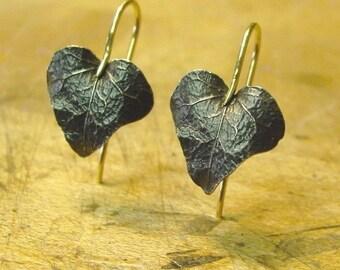Ivy Leaf Earrings, Drop Earrings, Delicate Earrings, Botanical Earrings, Blackened Sterling and 18k Gold Made to order