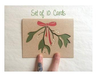 Christmas Card Set of 10: Mistletoe Cards--Christmas Cards--Laser cut card set