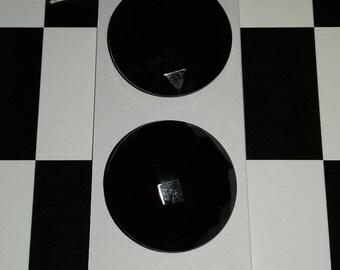 Large black diamond vintage buttons x2