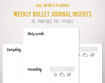 A5 Weekly Layout on 4 Pages - Bullet Journal Printable Template