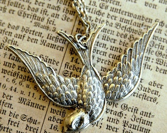Swooping Bird Necklace- Silver