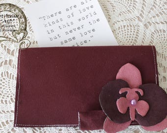 "Protects checkbook ""Orchid"" faux suede dark purple with an orchid in color lilac/Damson"