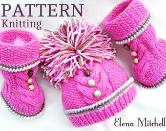 Knitting PATTERN Baby Beanie  Knitting Baby Set Baby Shoes Knitted Baby Hat Pattern Baby Booties Baby Boy Baby Girl Pattern ( PDF file )
