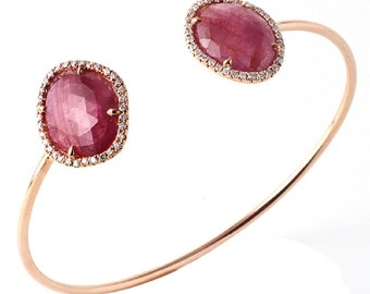 Luxo Jewelry Rose Cut 9.98 Ct Pink Sapphire 0.39 Ct Diamonds 14k Rose Gold Bangle Bracelet