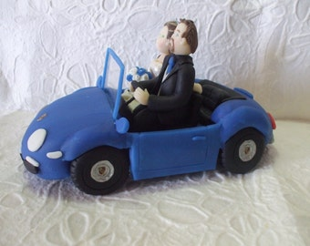 custom  bride and groom with car wedding cake topper