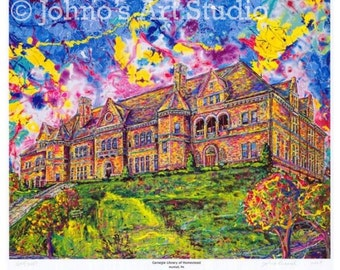 Pittsburgh Art, Carnegie Library,  Limited Editon Print by Johno Prascak