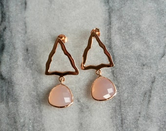 Pink Chalcedony gemstone and rose gold plated luxury sterling silver earrings