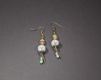 Pearl Earrings with glass beads, filigree, dangling, nature earrings, purple/white/old rose, Bohemian, handmade