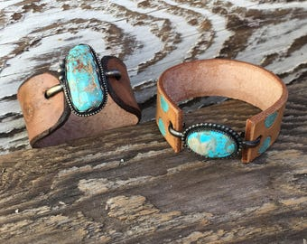 Tooled Leather and Turquoise Bracelet