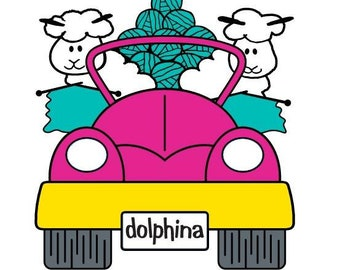 First Dolphina Pin!  Knitting chicks on the road!