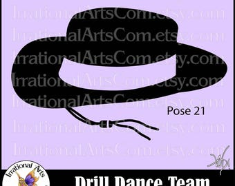 Drill Dance Team Silhouettes Pose 21 Hat - 1 EPS & SVG Vinyl Ready files and 1 PNG digital file and small commercial license