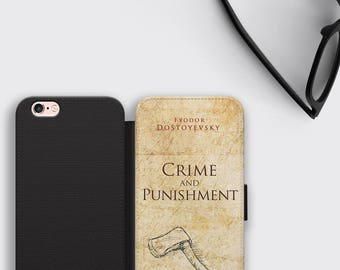 Fyodor Dostoyevsky iPhone 7 Case Crime and Punishment Samsung S8 Plus Cover - Vintage Book Phone Case Literature Gift Wallet iPhone 8 Cover