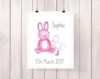 Pink Rabbit, Pink Nursery Decor, Baby Girl Gift, Rabbit Nursery Print, Bunny Nursery Art, Bunny Nursery Decor, Girl Nursery Wall Art, Pink