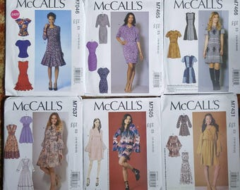 Bundle of 6 uncut McCall's Sewing Patterns (sizes 14- 22)
