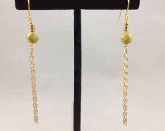 Long Chain Earrings Yellow
