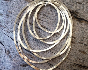 Hand-forged Seven Ring Sterling Silver Necklace RDDO7RP
