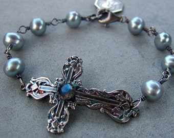 Labradorite And Grey Pearl Lily Cross Bracelet