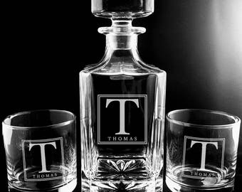 Custom Etched Whiskey Decanter Set, Engraved Square Monogram Decanter, Deep Etched, Wedding Gift, Groomsmen, Father's Day, Rocks Glass