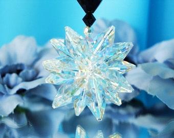 Crystal Suncatcher Car Mirror Charm Black Car Ornament Accessories Swarovski Crystal
