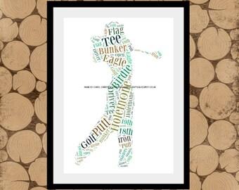 Golfer Word Art, Golf Word Cloud, Golf Word Art, Golfer Word Collage, Gift for Golfer, Personalised Golfer Print, Retirement Gift.